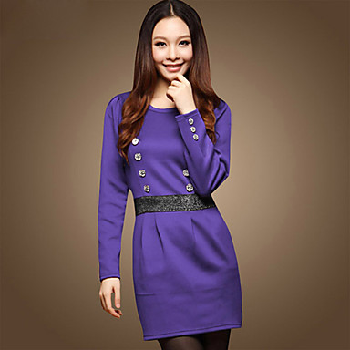 encolure ras du cou à double boutonnage en forme de robe taille