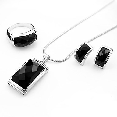Luxurious Crystal Two Piece Sterling Silver Big Gem Ladies Necklace and Earrings Jewelry Set