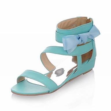 konstläder kilklack sandaler / kilar med bowknot / satin flower fest & skor kväll (fler färger finns)