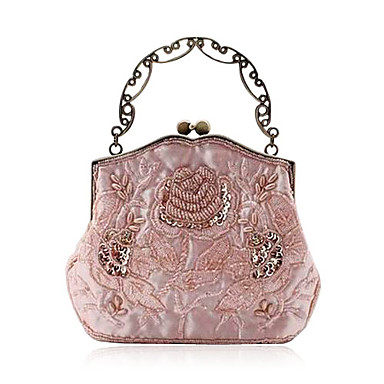 Elegant Silk Evening Bag With Stone Flower Front