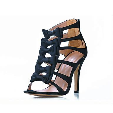 Women's Spring Summer Gladiator Satin Party & Evening Stiletto Heel Bowknot Black