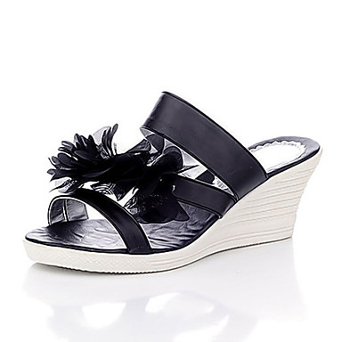 Leatherette With Flower Slippers Platform Wedges (More Colors)