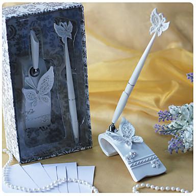 billige Gjestebok og pennesett-sommerfugl tema bryllup penn satt i hvitt harpiks