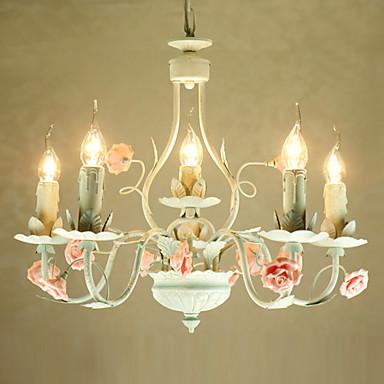 luz de teto floral com 6 luzes