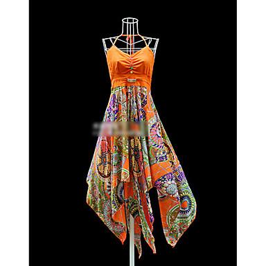 Bohemian Asymmetrical Floral Print Beach Dress