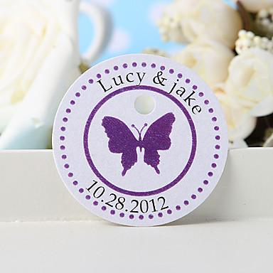 εξατομικευμένη ετικέτα χάρη - μοβ πεταλούδα (σύνολο 36) γαμήλιες εύνοιες