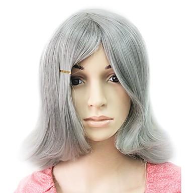 capless syntheitc grise courte perruque partie droite