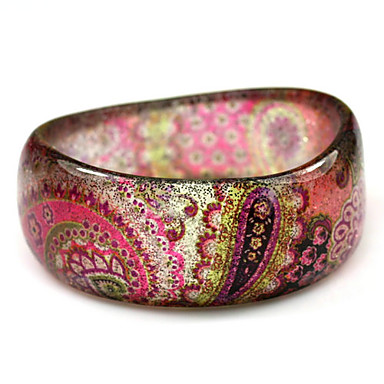 Ladies' Resin Round Bangles Classic Bracelet With Gypsy Colorful Print