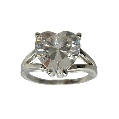 Cubic Zirconia Platinum Plated Heart Cut Shape Fashion Ring (More Colors)