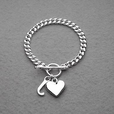Mode versilbert Herz & J Unisex-Armband