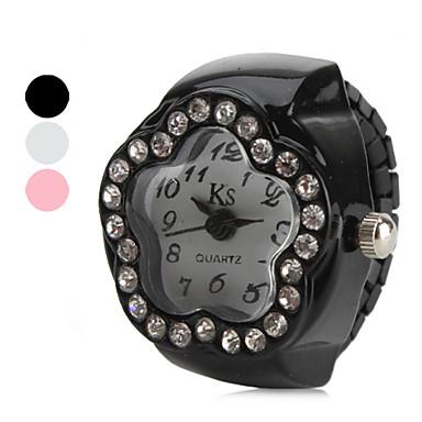 baratos Relógios Senhora-Mulheres Relógio Anel Relógio de diamante Japanês Quartzo Preta / Branco / Rosa imitação de diamante senhoras Flor - Branco Preto Rosa claro