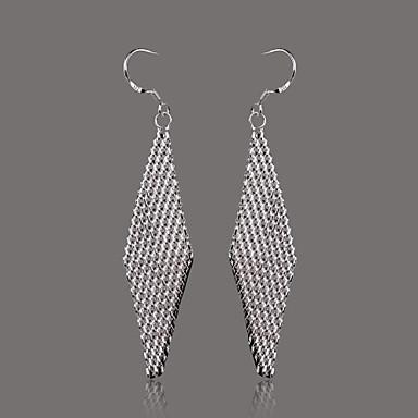 Gorgeous Silver Plate Diamond Shape Mesh Earring
