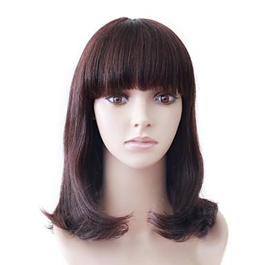 capless mono topp medium brun bølgete menneske menneskelig hår parykk