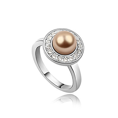 Gorgeous Platinum Plated Pearl With Round Shape Fashion Ring(More Colors)