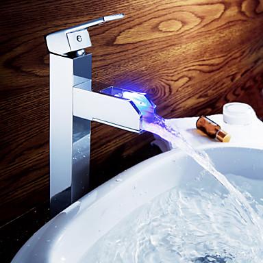 Robinet de salle de bain Sprinkle®  ,  Dessus de Meuble  with  Chrome 1 poignée 1 trou  ,  Fonctionnalité  for Lumineux LED / Centerset