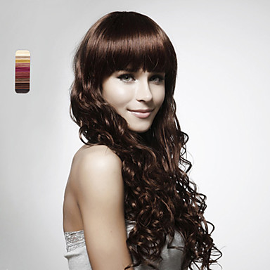 Sentetik Peruklar Bukle Katmanlı Saç Kesimi Şelale Koyu Kahverengi Kadın's Komple Dantel Uzun Uzun Sentetik Saç Günlük