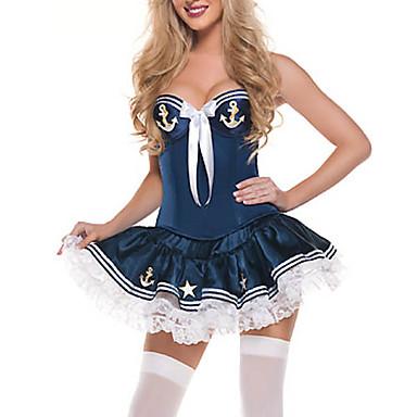 Mornarski Karijera kostime Cosplay Nošnje Kostim za party Žene Halloween Karneval Festival / Praznik Halloween kostime Obala Plav Kolaž