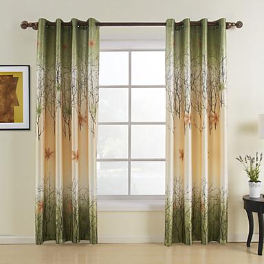 Ein Panel Window Treatment Landhaus Stil, Druck Blatt Schlafzimmer Polyester Stoff Vorhänge drapiert Haus Dekoration