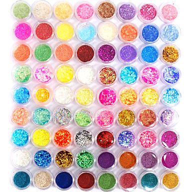 72 pcs Glitter Nail Art Kit Nail Jewelry Muodikas malli / Personoitu Romantiikka kynsitaide Manikyyri Pedikyyri Päivittäin Abstrakti / Muoti