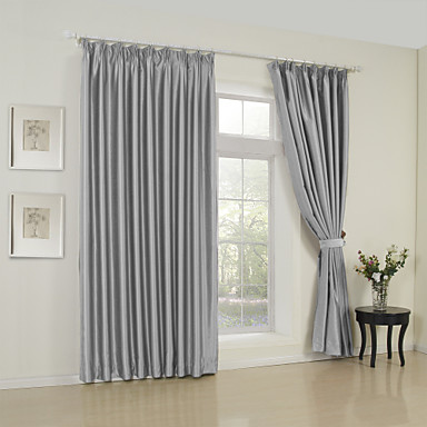 Rod Pocket Grommet Top Tab Top Double Pleat Two Panels Curtain Modern Solid Bedroom 65% Rayon/35%Polyester Rayon Material Curtains Drapes