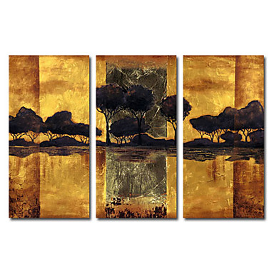 Ručno oslikana Pejzaž Tri plohe Platno Hang oslikana uljanim bojama For Početna Dekoracija