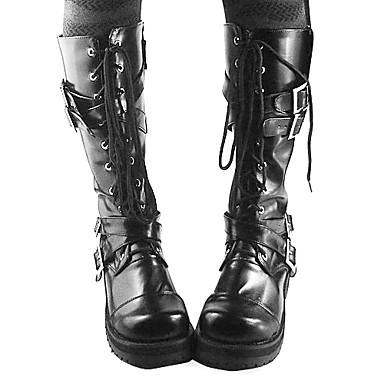 Handmade Black PU Leather 4cm High Heel Gothic Lolita Boots