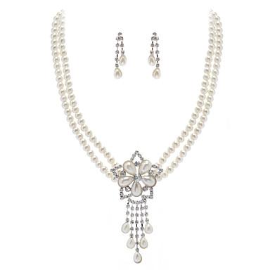 elfenben perle to stykke vintage damene halskjede og øredobber smykker sett (38 cm)