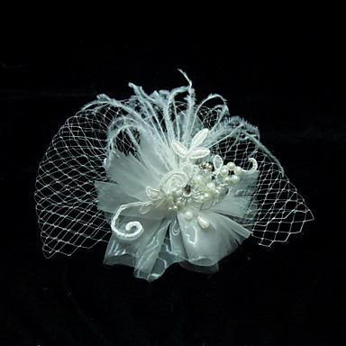 Crystal Feather Fabric Tiaras Birdcage Veils 1 Wedding Special Occasion Party / Evening Headpiece