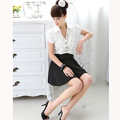 Women's Contrast Color Ruffle Front Dress(Slim Cut)