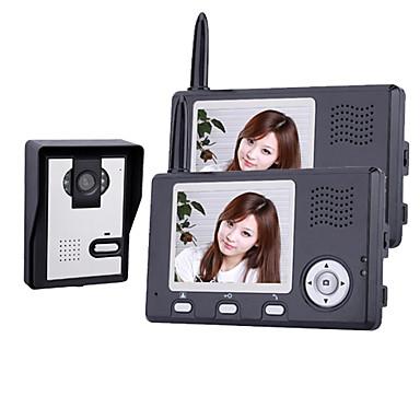 Langattoman pimeänäkö kamera 3,5 tuuman ovipuhelin monitori (1camera 2 näyttöä)