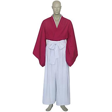 Esinlenen RurouniKenshin Himura Kenshin Anime Cosplay Kostümleri Cosplay Takımları Kimono Kırk Yama Uzun Kollu Hakama Pantolonu Kimono