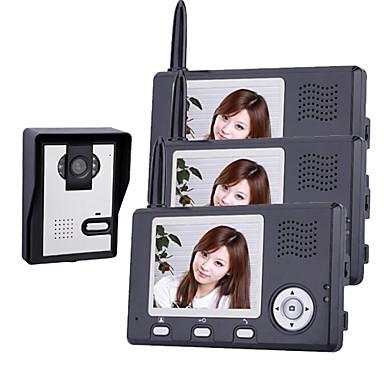 3.5 인치 문 전화 모니터 (1camera 3 모니터)와 무선 야간 비전 카메라