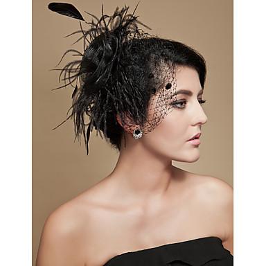 豪華なフラックス♥羽毛/チュール付き♥ミニハット(1192-010)