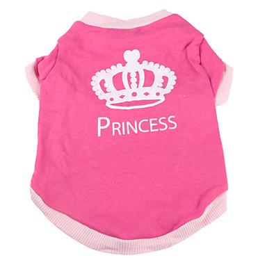 abordables Ropa para Perro-Perro Camiseta Ropa para Perro Tiaras y Coronas Rosa Algodón Disfraz Para Primavera & Otoño