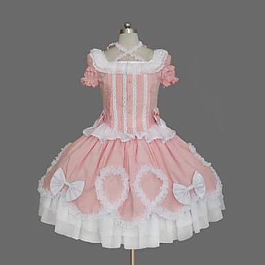 Sweet Lolita Dress Vintage Inspired Women's Dress Cosplay Short Sleeves Medium Length