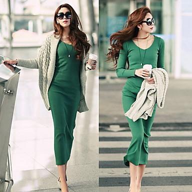 Women's Casual Long Sleeve Slim Dress