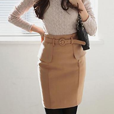ALAN Mid Længde Nederdel med bælte