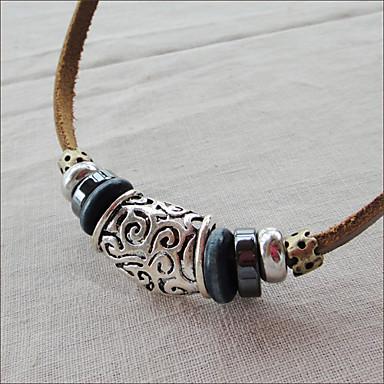 Men's Handmade Leather Vintage Bib Necklace(Length:45CM)