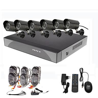 8 canales de vigilancia de seguridad del sistema 6 al aire libre Warterproof Visión nocturna Cámara