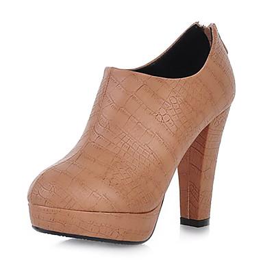 Gorgeous cuero gruesos botas de tacón tobillo con cremallera fiesta / noche zapatos (más colores)