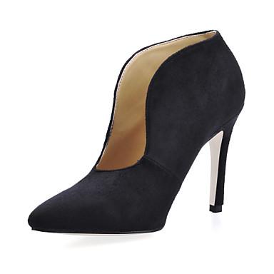 Zapatos de mujer - Tacón Stiletto - Botas a la Moda - Botas - Casual / Oficina y Trabajo - Ante - Negro