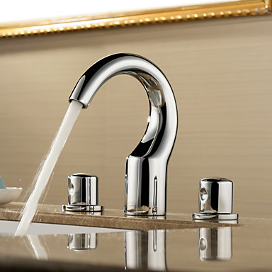 Sprinkle® Sink Faucets  ,  Contemporary  with  Chrome Two Handles Three Holes  ,  Feature  for Widespread