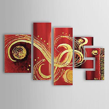 Pictat manual Abstract Cinci Panouri Canava Hang-pictate pictură în ulei For Pagina de decorare