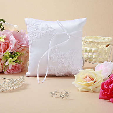 Wedding Ring Pillow With Embroidery And Ribbon