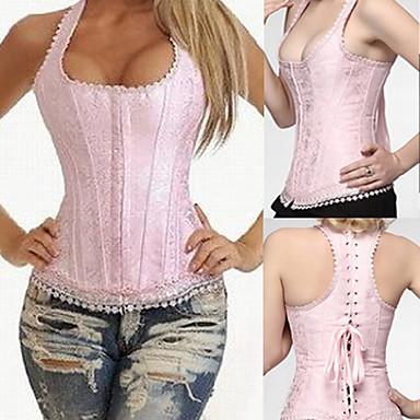Elegant Pink Lace Satin Boned Casual Lolita Corset
