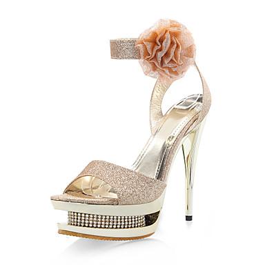 Summer Glitter Wedding Dress Stiletto Heel Rhinestone Satin Flower Sparkling Glitter Buckle Gold