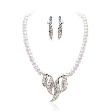 pérola senhoras zirconia / imitação cúbicos em liga de prata colar e brincos set