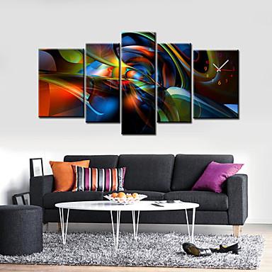modern, ceas de perete abstract în set panza de 5