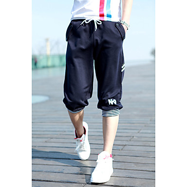 Men's Contrast Color Sports Cropped Pants