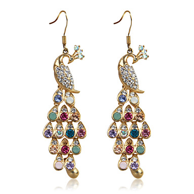 Charming Alloy Peacock Design Crystal Drop Earrings